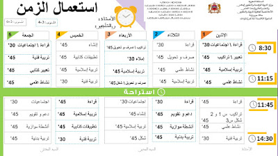 استعمال الزمن المستوى عربية الثالث و الرابع  مشترك والخامس و السادس
