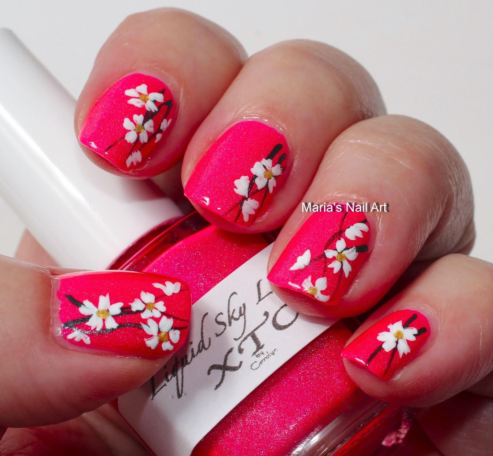 Pink Flower Nail Art Fresh Flowers