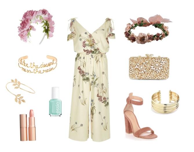 River island, jumpsuit, floral, boho, flower, crown, nude, sandals, bangles
