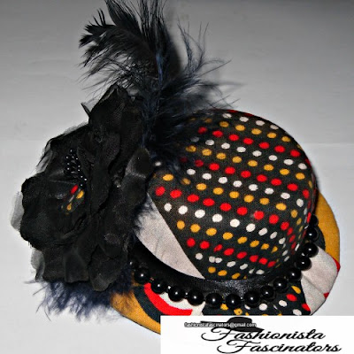 Black, yellow, red and white Kenya, African print fascinator hat