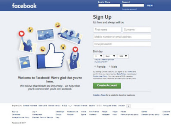 Facebook loginfacebook login home page