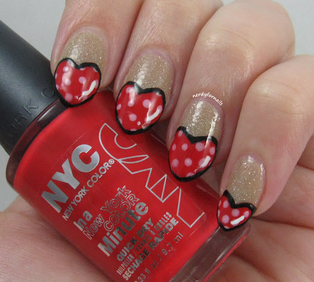 Valentine's Day Nails- Heart Shaped, Cartoon Style, NYC Carnival Red