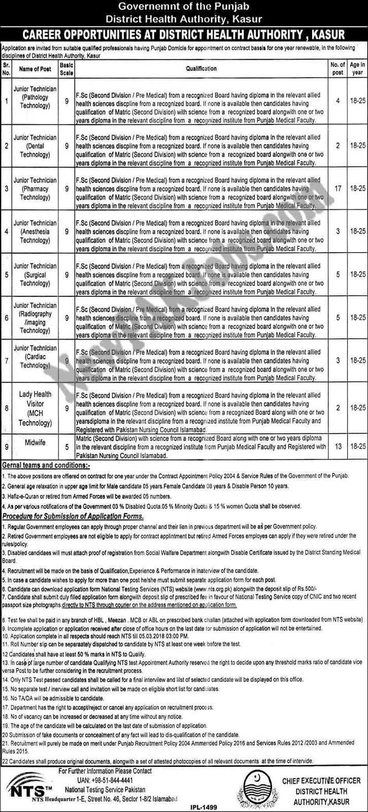 District Health Authority Kasur Today New Jobs Through NTS 03 Feb 2018