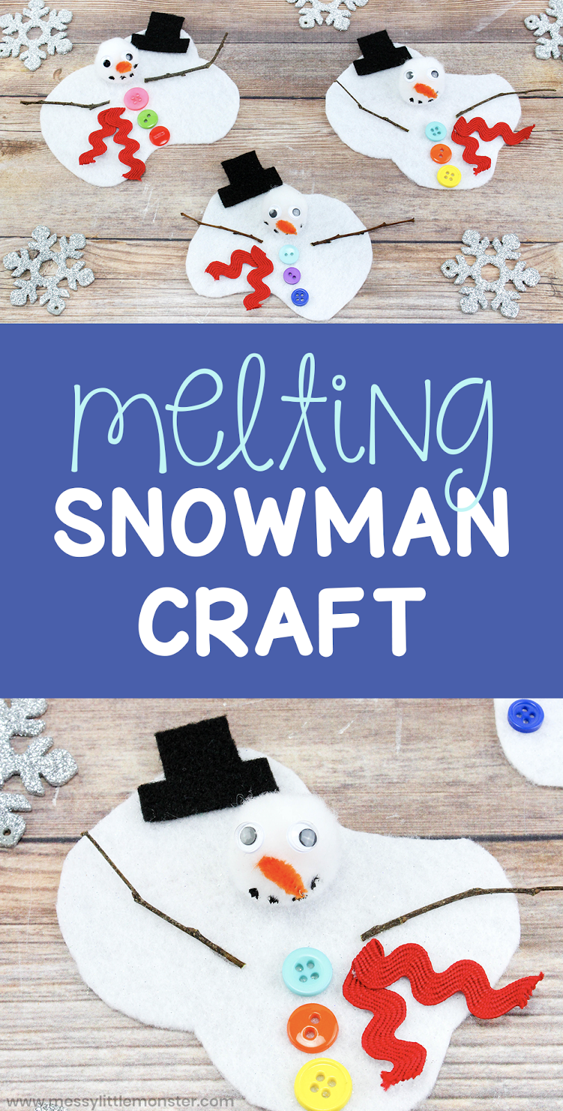 You will love this easy melting snowman craft for kids. Make a melted snowman craft as part of a fun winter project for kids. Toddlers and preschoolers will love it!