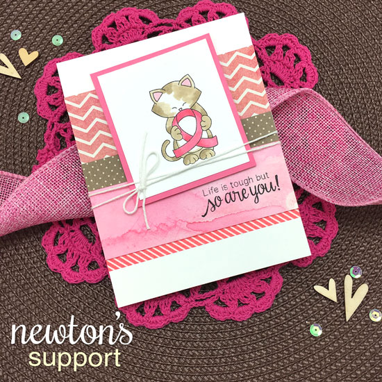 Kitty with pink Ribbon card by Jennifer Jackson |  Newton's Support stamp set by Newton's Nook Designs #newtonsnook