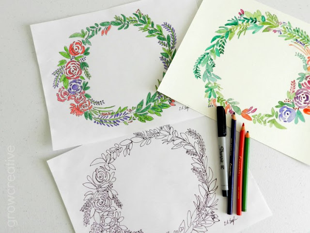Free Floral Wreath Coloring and Watercolor Pages: grow creative blog