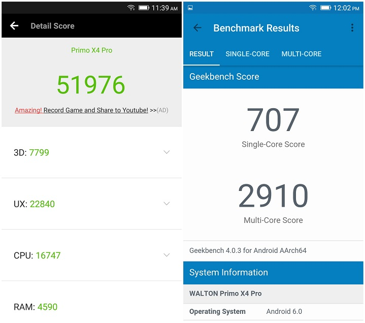 Primo X4 Pro review AnTuTu Benchmark GeekBench Score