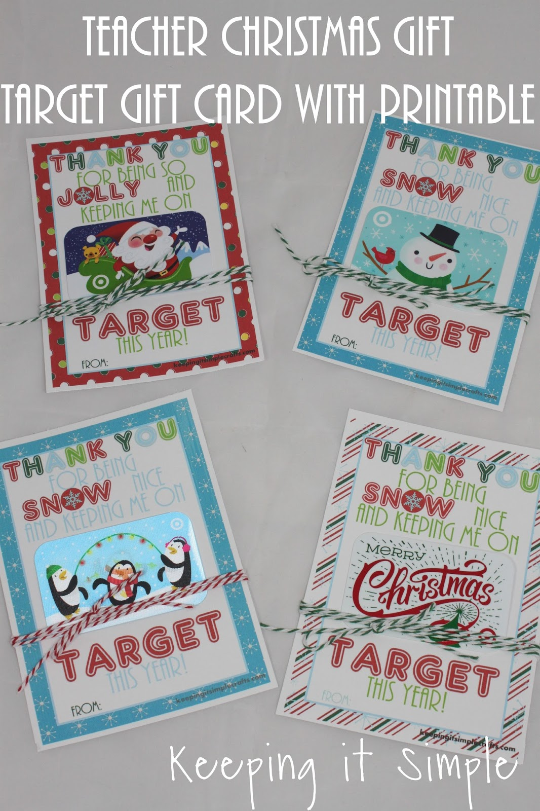 Keeping It Simple Teacher Christmas T Idea Printable For Target T Card