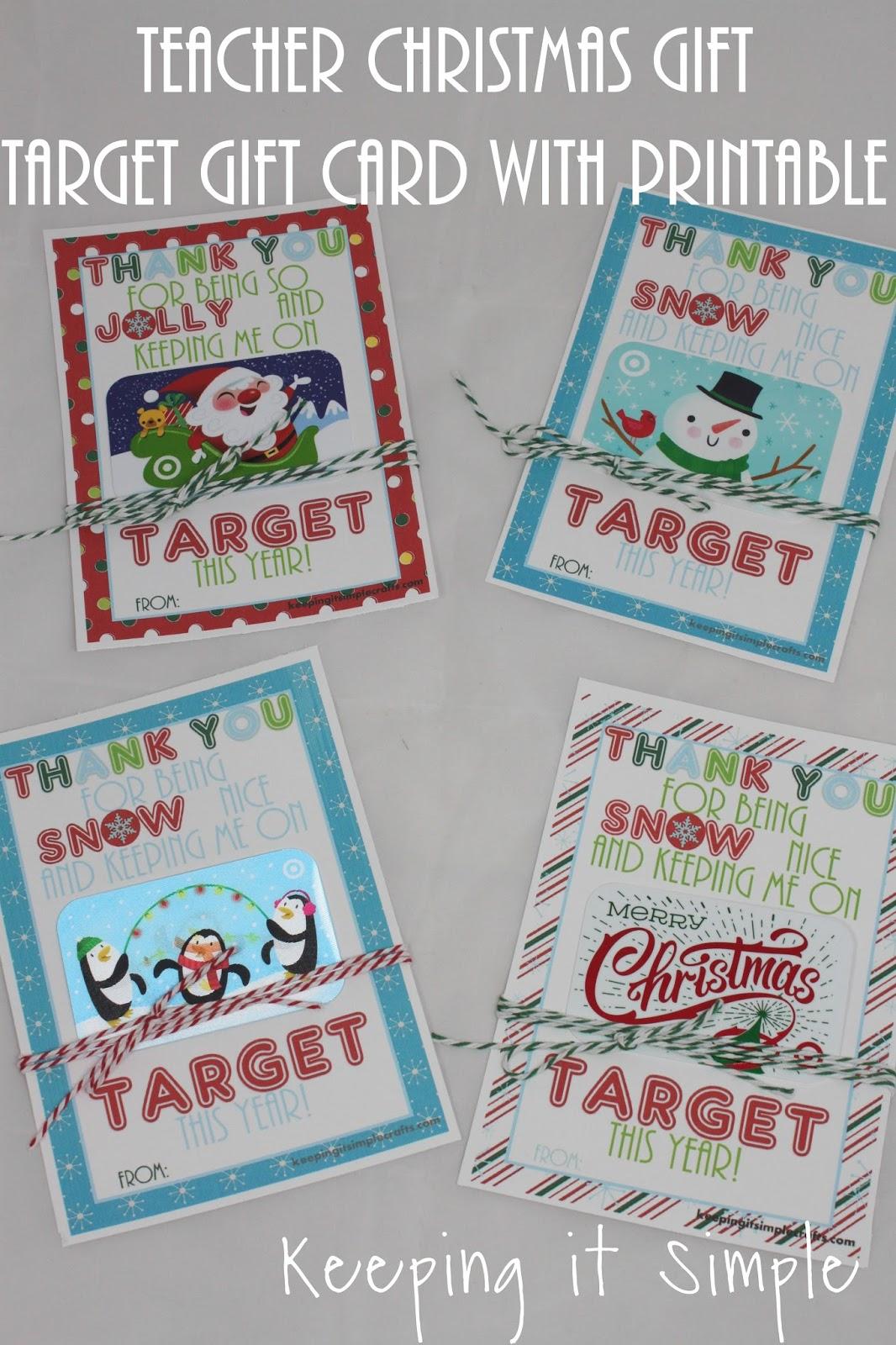 Keeping It Simple Teacher Christmas T Idea Printable For Target T Card