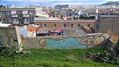 Street art along Viale Enrico Endrich, Cagliari.