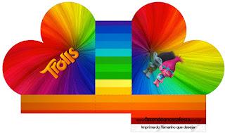 Caja abierta en forma de corazón de Trolls.