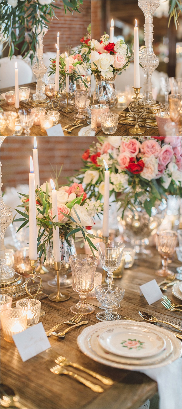 Romantic pink and white centerpiece with candles