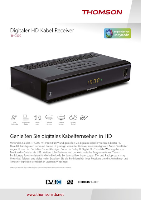 Datenblatt Thomson THC300 digitaler HD Kabel-Receiver