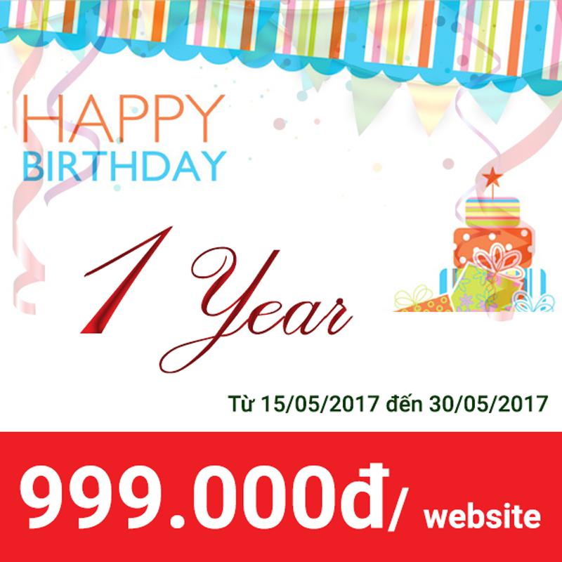 Khuyến mãi website mừng sinh nhật 1 tuổi
