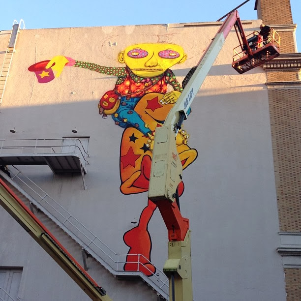 Work In Progress By Brazilian Street Artists Os Gemeos At Warfield Theatre In San Francisco. 1