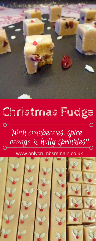 A fudge perfect for Christmas having been flavoured with cinnamon, mixed spice, cranberries, orange extract and topped with holly sprinkles.