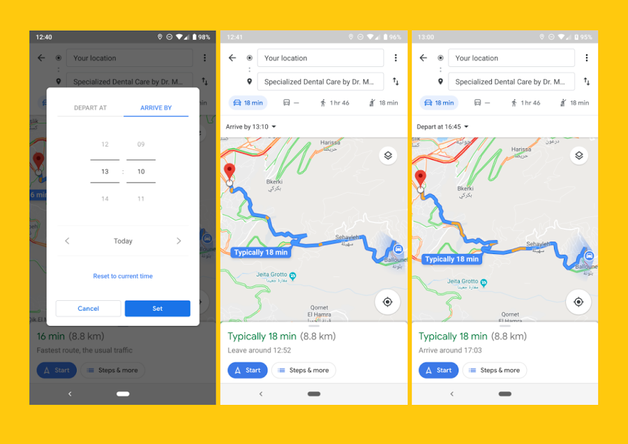 Users can finally set a departure time for driving in the Google Maps app on their smartphone