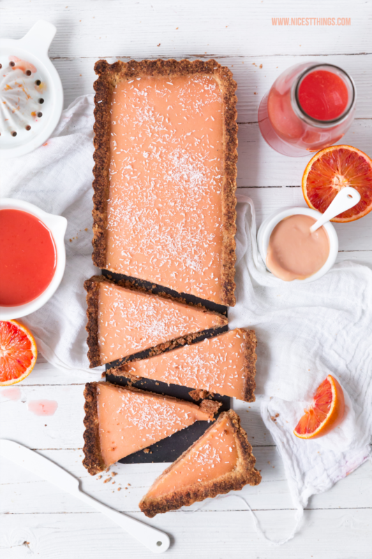 Blood Orange tarte with White Chocolate and Butter Crust