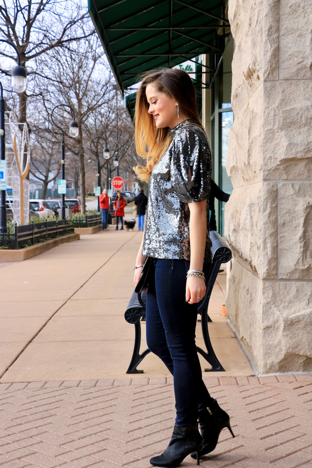 Nyc fashion blogger Kathleen Harper wearing a New Year's Eve sequin top