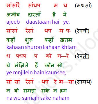 Notations Of Songs Gane Ki Lyrics V Sargam Ya Swarlipi Ya Notes