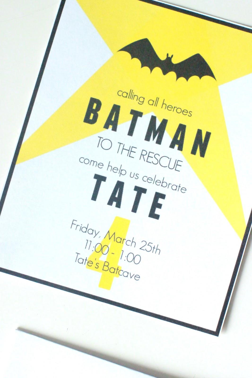 Larissa Another Day: Batman Birthday Invite