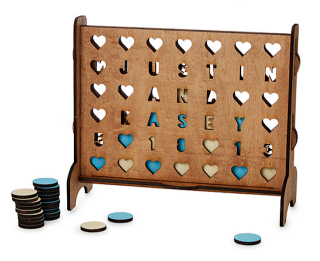 Personalized Hearts Four Across Game from Uncommon Goods