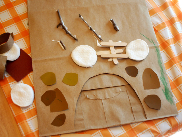 Paper bag cave for hibernating bear craft