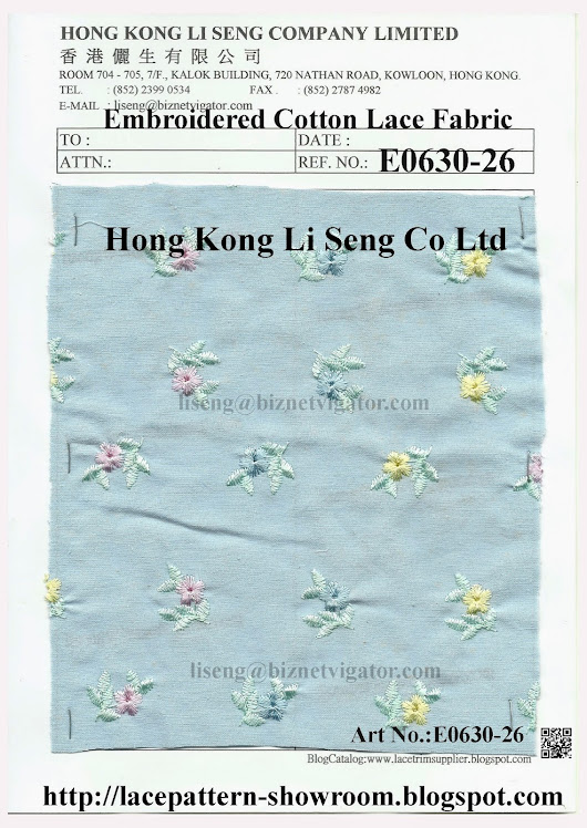 Embroidered Cotton Lace Fabric Wholesalers Manufacturer and Supplier - Hong Kong Li Seng Co Ltd