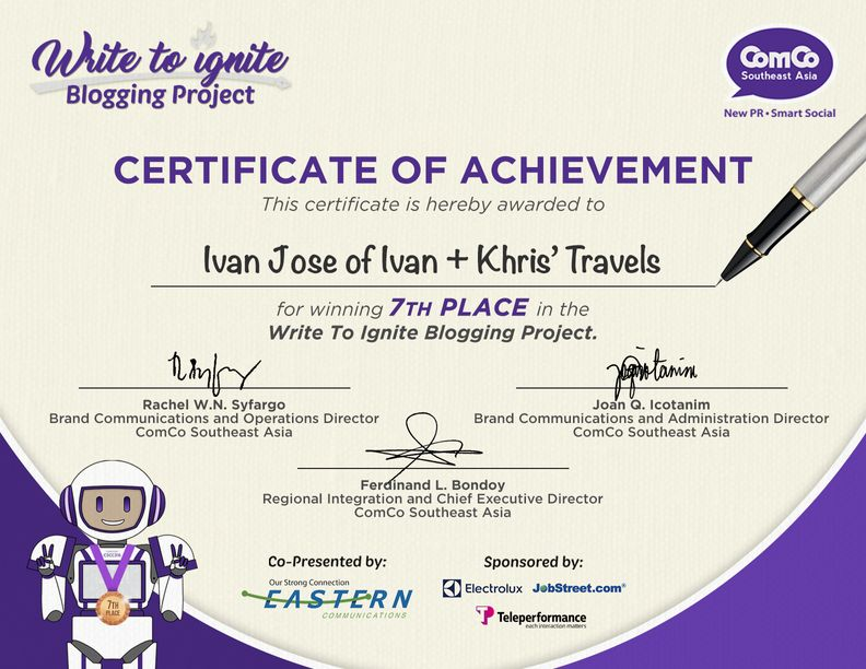 Certificate of Recognition for placing seventh overall in the recently-concluded Write to Ignite Blogging Project