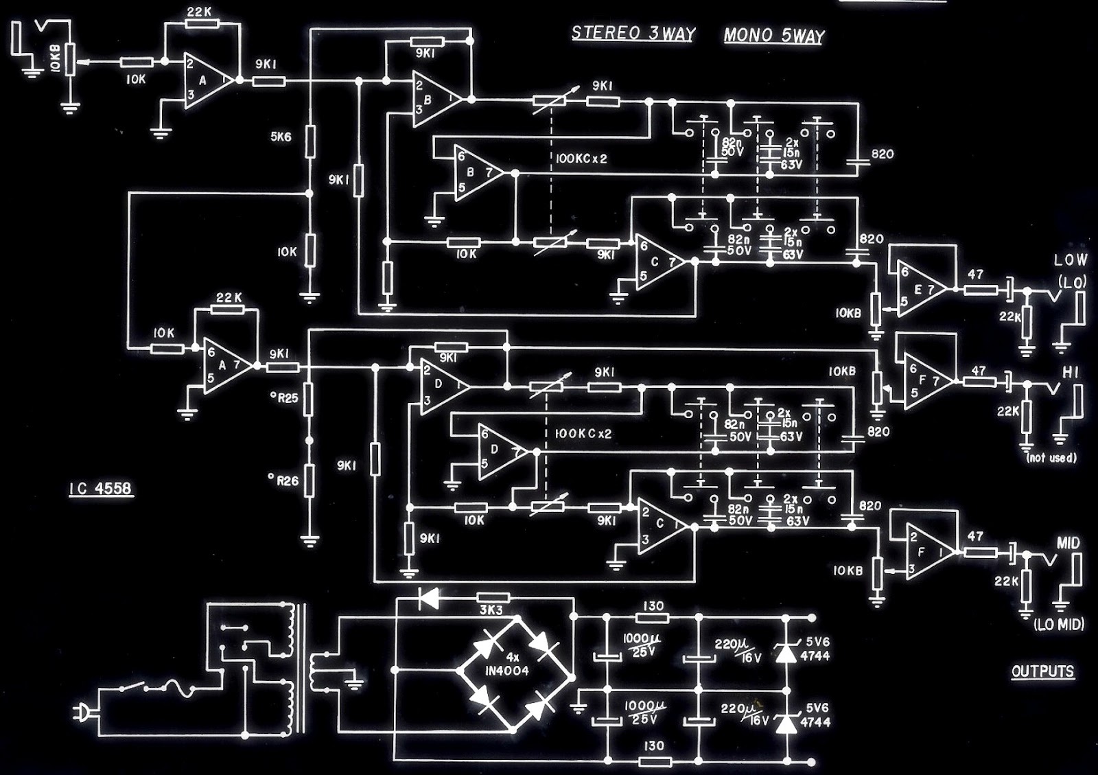 Stereo 3 Way Mono 5 Crossover And Hi Power Amplifier Using Schematic Diagram Click On The Pictures To Zoom In