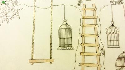 Tajemny Ogród, drzewo, huśtawka, rysowanie, kolorowanie, plastyka, jak zacząć rysować?