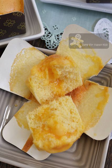 Hokkaido chiffon cupcakes liu sha salted egg custard cream