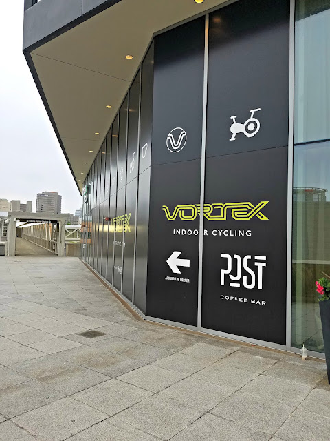 outside of Vortex indoor cycling and Tysons Corner Metro
