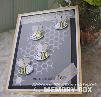bee card with vellum and washi tape
