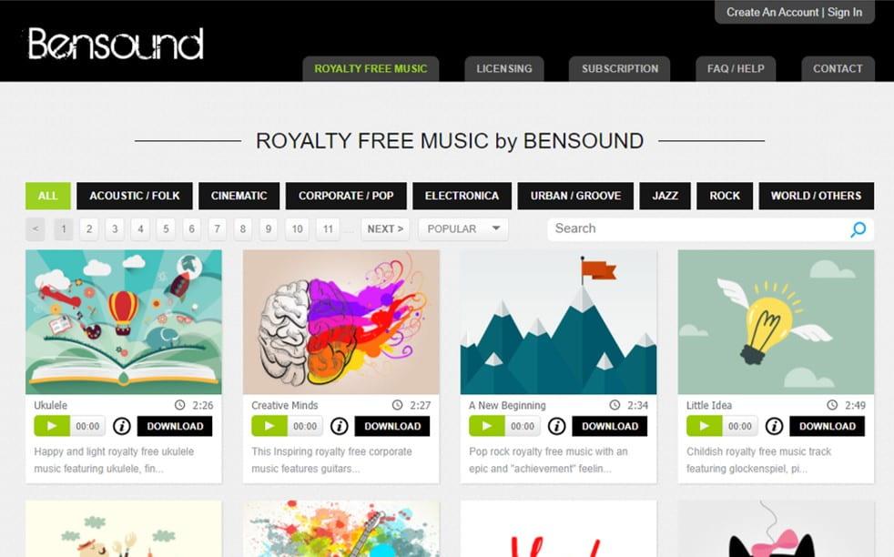 Bensound free sound clips blogging tool