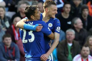Leicester City Vardy celebrando un gol
