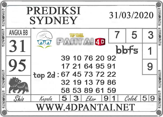 PREDIKSI TOGEL SYDNEY PANTAI4D 31 MARET 2020