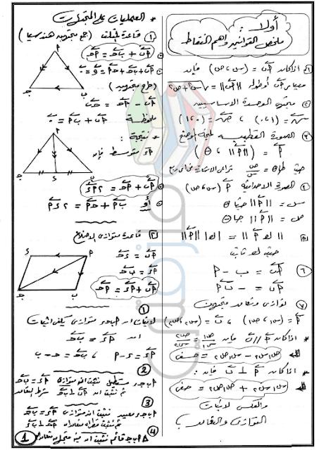 مراجعة هندسة للصف الاول الثانوى الترم الثاني 2017