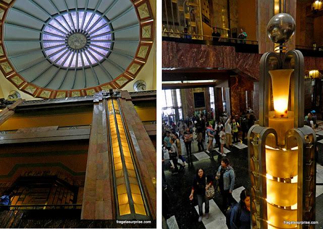 Detalhes da arquitetura e decoração art déco do Palácio Nacional de Bellas Artes