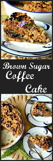 """""""This brown sugar coffee cake has a pie crust like bottom, a tender cakey interior filled with fruit or chocolate, and a crumbly, nutty streusel topping."""" www.thisishowicook.com #coffeecake #desserts #sweetbreakfast #brunch www.thisishowicook.com"""