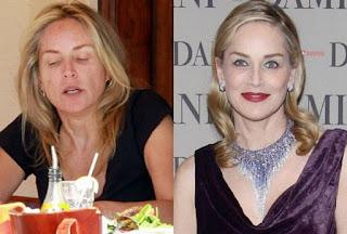 fotos de famosos antes e depois da maquiagem - sharon stone