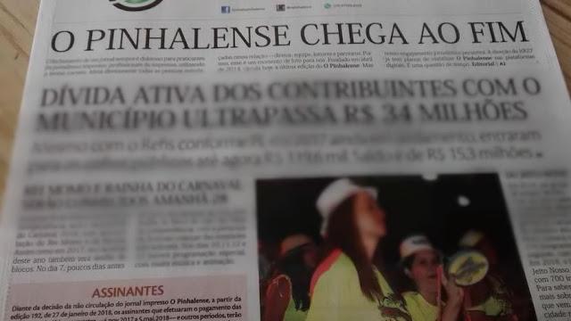 Jornal O Pinhalense chega ao fim