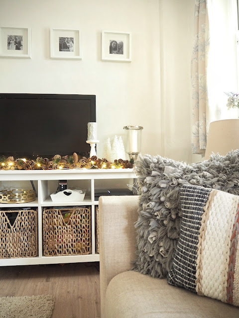 christmas home decor in gold and white featuring baubles and accessories from Dunelm, Laura Ashley, Sainsbury's and Hobbycraft