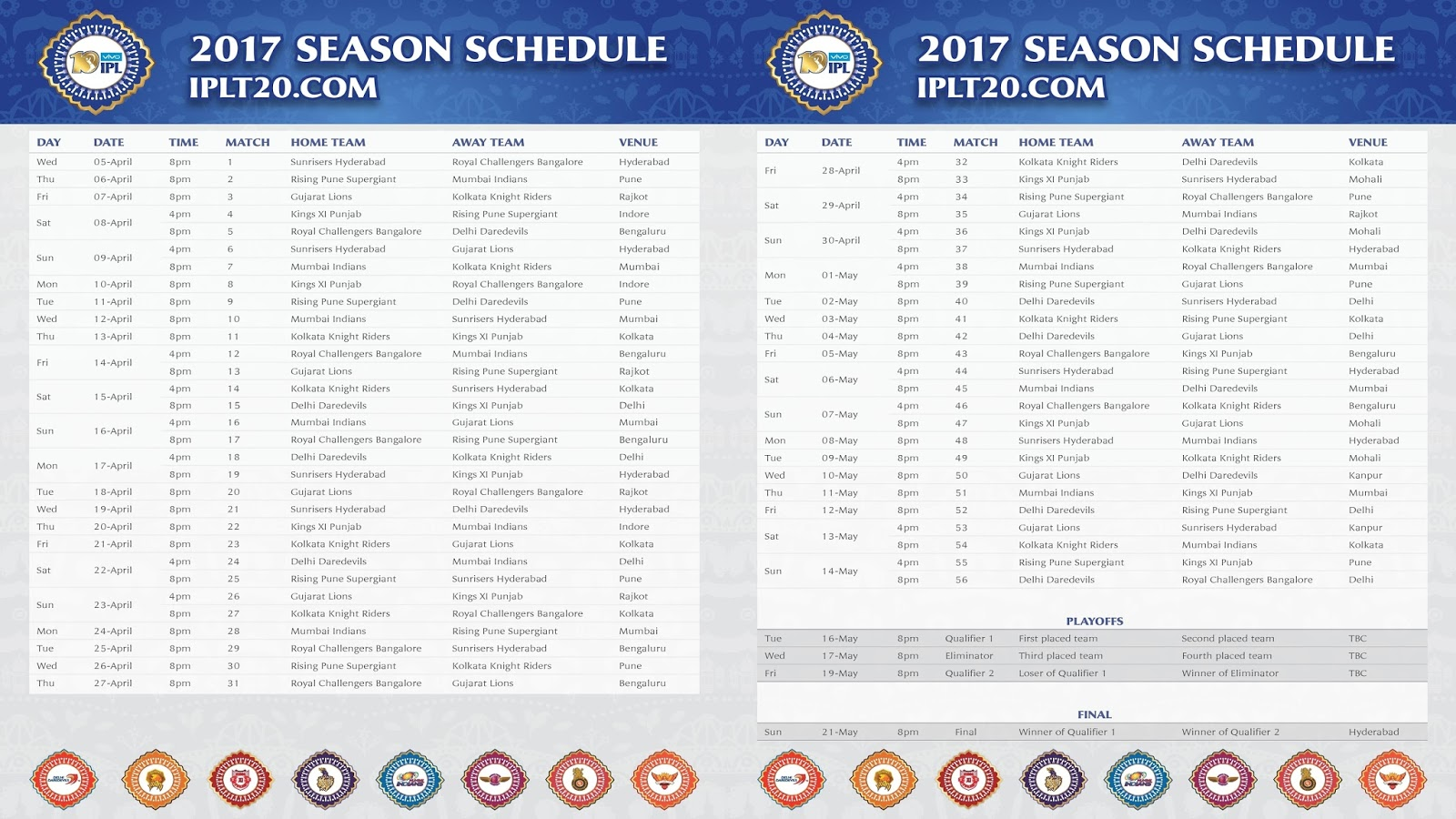 here s the complete ipl 2017 schedule matches list