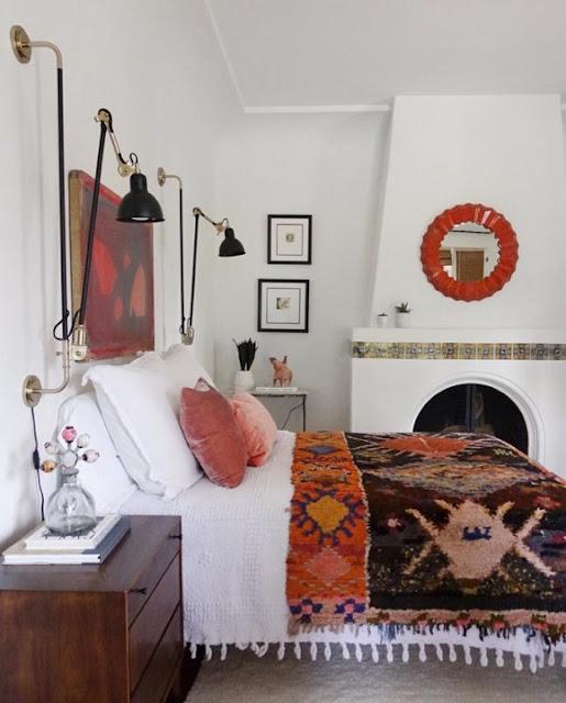 Unique rug Ideas Vintage Kilim Rug on bed boho bohemian