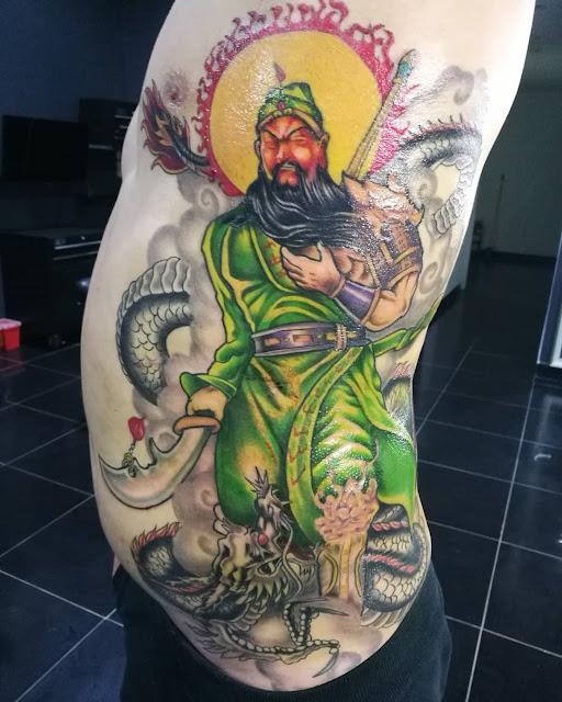 กวนอู Tattoo แบบข้างลำตัว