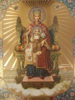 Maica Domnului, Preasfanta Nascatoare de Dumnezeu, Rugaciuni la Maica Domnului, Icoanele Maicii Domnului, Maica Domnului pe tron