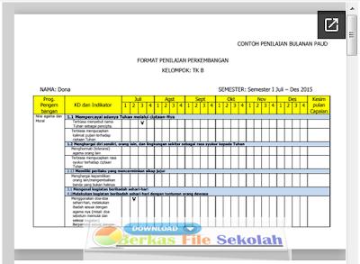 Contoh Format Penilaian Bulanan PAUD Kurikulum 2013 - Berkas File Sekolah