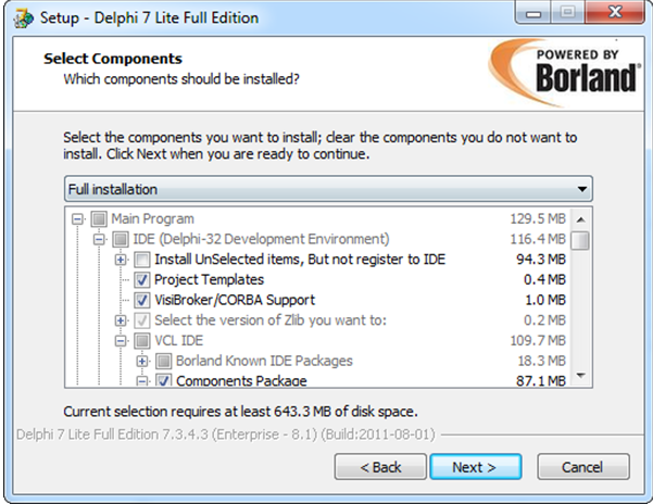 How to install delphi7 in windows8