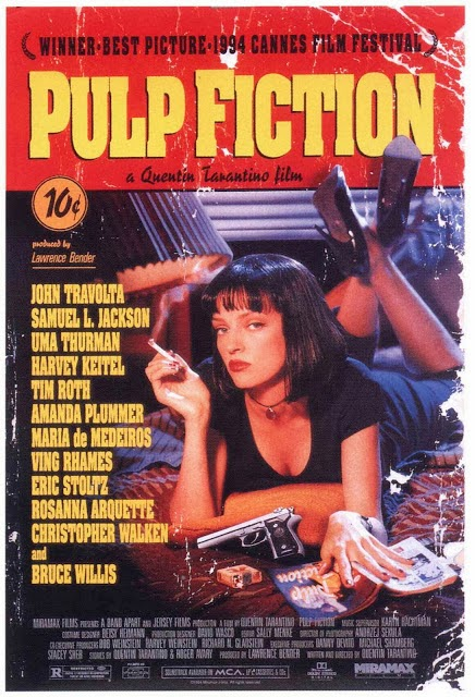 Pulp Fiction, Directed by Quentin Tarantino, starring John Travolta, Samuel L. Jackson, Uma Thurman, Tim Roth, and Harvey Keitel.